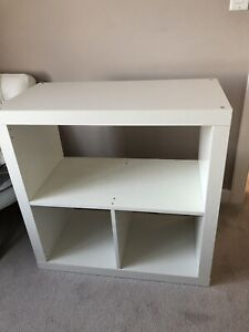 White TV Console. Tall round table. End table/Night stand.