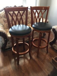 Pair Solid wood/leather bar stools