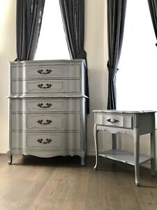 Set of solid wood dresser and nightstand