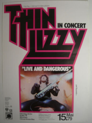 THIN LIZZY CONCERT TOUR POSTER 1979 LIVE AND DANGEROUS BLACK ROSE
