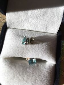 Genuine Blue Topaz white Gold earrings