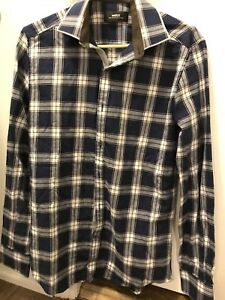 Blue plaid dress shirt small
