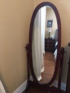 Cheval Wooden Oval Floor Mirror