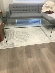 Urban Barn Glass Coffee Table and Side Table