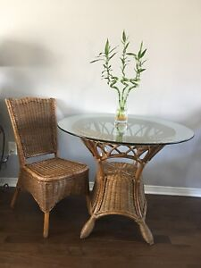 Rattan furniture, round glass table, chair