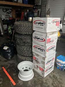2 Sets of 15 inch Wheels & 35 inch BF Mudders for sale