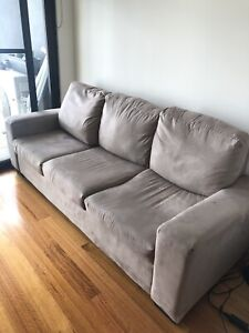 Beige suede 3 seater couch
