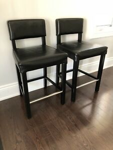 Leather bar stool chairs (x2)