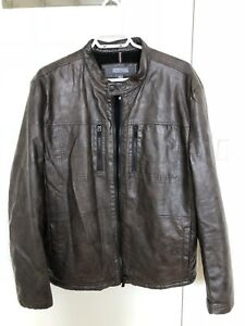 Kenneth cole brown leather jacket for sale