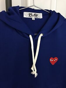 Comme Des Garcons Play Blue Heart Patch Hoodie - Women's Large