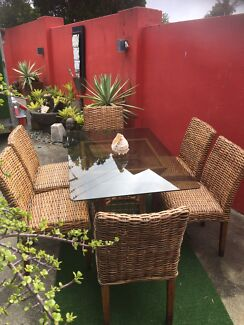 Outdoor glasstop 6 seater dining setting VGC Rochedale delivery  Avail