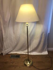 Vintage Brass Floor Lamp w/ White Shade