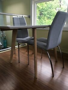 2 grey/blue dining chairs