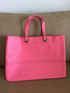 Oroton Entourage soft leather tote bag in shocking pink