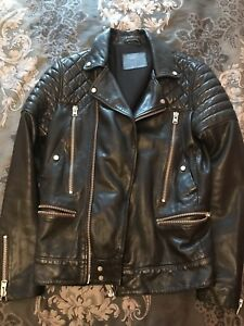 All Saints Leather Powell Biker Moto Jacket Varvatos Yves