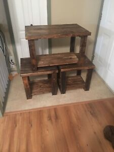 Hand made coffee table and end table
