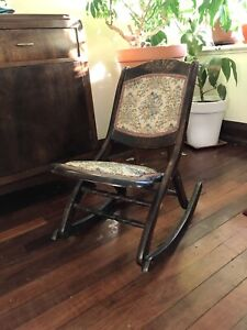 Vintage antique fold-out rocking chair