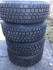 4 - LT 245/70R/17 M+S, Studded Snow Tires on rims