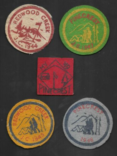 (5) Rare 1944-1949 Boy Scout Felt Patches. Redwood Creek & Pinecrest Calif Camps