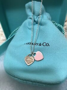 Authentic Return to Tiffany double mini heart tag necklace