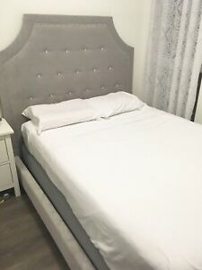Double (Full) Bed Frame in Grey Fabric w/ Mattress & Box Spring