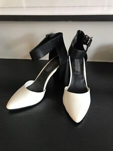 White and black high heels