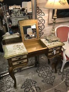 Gold Desk, Flips Open to Mirrored Vanity