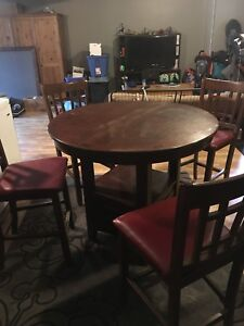 Tall dining table and 4 chairs with Leaf