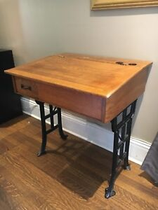 Wood desk with cast iron legs