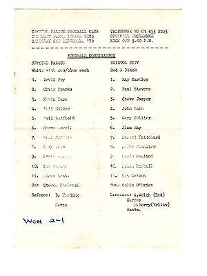 Crystal Palace v Bristol City Reserves Programme 2.9.1978