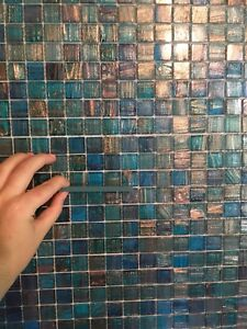 Glass mosaic accent tile - 20+ square feet turquoise blue bronze