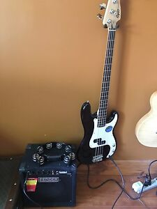 Squire Bass and Fender Amp