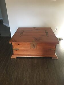 Wooden treasure chest coffee table