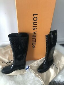 Louis Vuitton black rain boots WORN ONES !!!