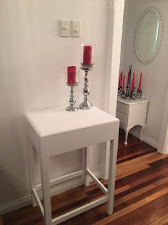 Gorgeous tall wooden table - freshly painted white