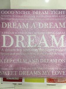 Pink DREAM Canvas Print - BRAND NEW (Still in bubble wrap) Grange Charles Sturt Area Preview