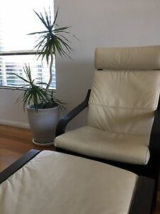 ikea leather poang armchair with stool Mosman Mosman Area Preview