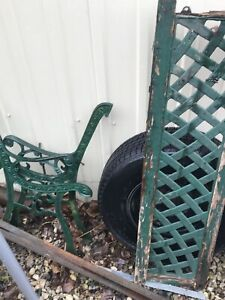 Antique cast bench , wagon wheel