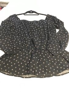 Abercrombie & Fitch off shoulder sheer black blouse N new