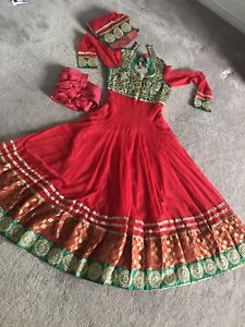 Red and green pretty dress