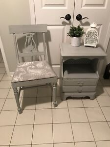 Refinished Solid wood bedside table and vintage chair
