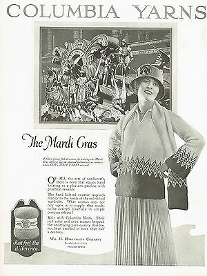 1920s BIG Vintage Columbia Yarns Knitwear Fashion Mardi Gras Photo Art Print Ad