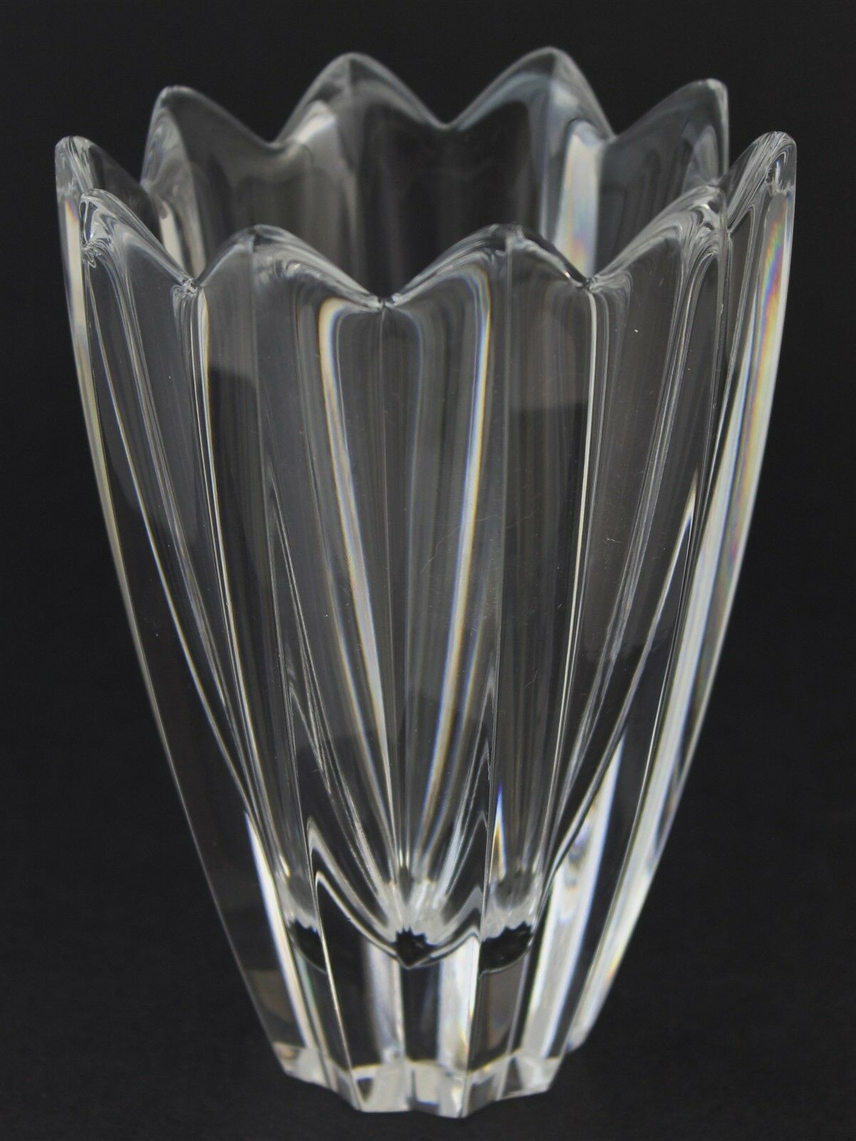 vintage signed orrefors fleur jan johansson design cut glass floral crystal vase ebay. Black Bedroom Furniture Sets. Home Design Ideas