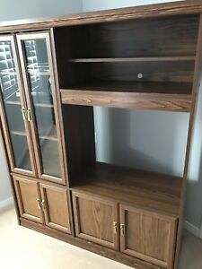 Wooden TV stand with display shelves