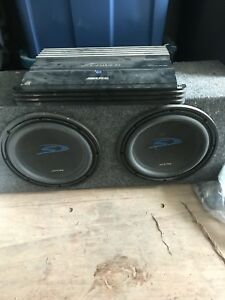 """2 10"""" alpine subs and amp"""