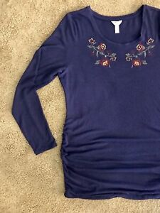 Thyme embroidered Long Sleeve Maternity Blouse LIKE NEW