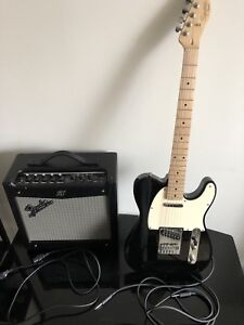 Squier by Fender Affinity Black Electric Guitar With Amplify
