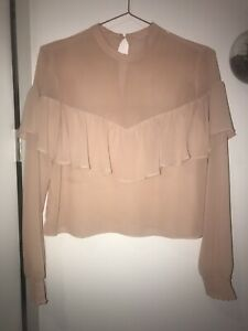 Baby Pink Sheer Ruffled Blouse