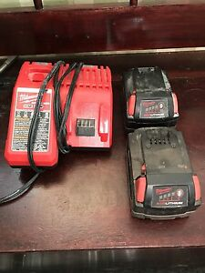 Milwaukee Fuel 18V Batteries and Charger *Like New*