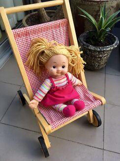 Retro wooden baby doll stroller